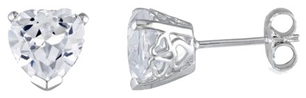 Other Sterling Silver Created White Sapphire Heart Love Stud Earrings 4.52 Ct Tgw