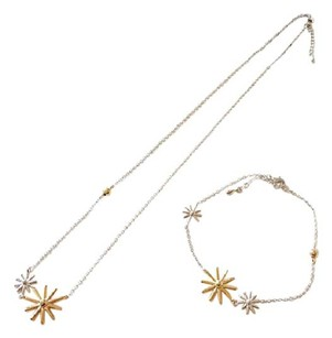 Other Sterling Silver Gold Plated Flower Star Statement Bracelet Metal Korea