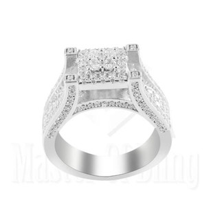 Sterling Silver Ladies Ring White Gold Finish Prong Lab Diamond Bridal Band
