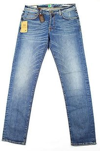Pt05 Womens Blue Cotton Straight Leg Jeans