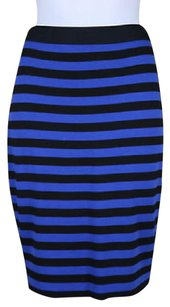 Other Core Womens Black Blue Striped Pencil Skirt Multi-Color