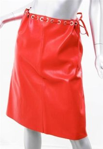 Lucien Coral Soft Leather Skirt Red