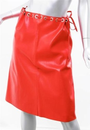 97981b3b07 durable modeling Lucien Pellat-finet Coral Red Soft Leather Belt Straight  Pencil Skirt  4633630