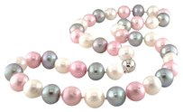 Other 18 9-10 Mm Freshwater Multi Color White Pink Grey Pearl Necklace Silver Clasp