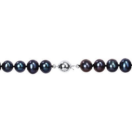 Other Sterling Silver 20 9-10 Mm Freshwater Black Pearl Necklace W 9mm Ball Clasp