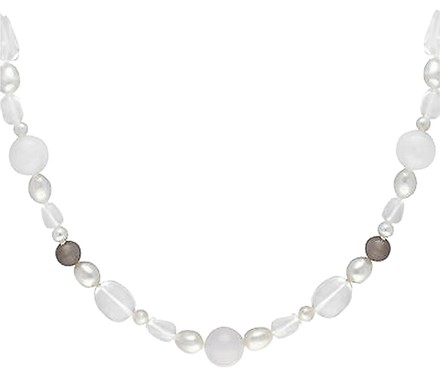 Other Sterling Silver 460 Ct Tgw Gemstone Freshwater White Pearl Necklace