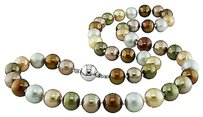 18 9-10 Mm Multi Color Grey Olive Brown Light Dark Champagne Pearl Necklace