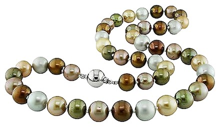 Other 18 9-10 Mm Multi Color Grey Olive Brown Light Dark Champagne Pearl Necklace