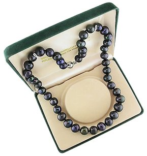 Other Sterling Silver 10 Mm And Up Freshwater Black Licorice Pearl 18 Necklace In Box
