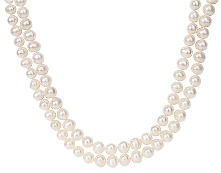 Other 2022 2-strand 9-10 Mm Freshwater Pearl Necklace W Silver Bayonet Clasp