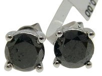14k Gold Black Diamond Solitaire Stud Earrings 3.44 Ct