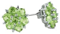 Sterling Silver Peridot Flower Nature Earrings 3.78 Ct Tgw