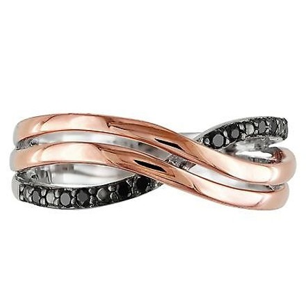 Other Pink Silver Black Diamond Crossover Two-tone Swivel Fashion Ring 0.1 Ct Cttw