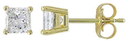 Other 14k Yellow Gold Princess Diamond Solitaire Stud Earrings 1 Cttw J-k I2-i3
