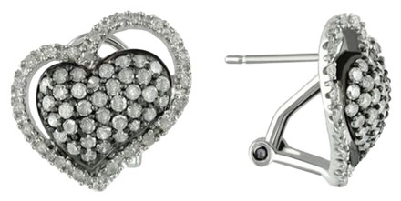 Other Sterling Silver Heart Love Accent Diamond Omega Back Stud Earrings 1 Cttw H-i I3