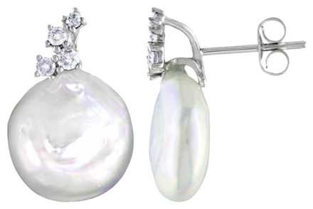 Other Amour 10k White Gold 11-11.5 Mm Pearl Diamond Stud Earrings 0.25 Cttw G-h I2-i3