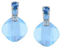 Other 10k White Gold Blue Topaz Stud Earrings 5.4 Ct Tgw