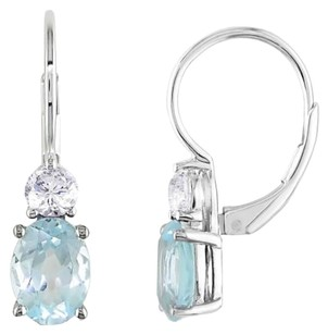 Other Sterling Silver Blue Topaz White Sapphire Leverback Earrings 3.84 Ct Cttw
