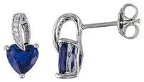 Sterling Silver Diamond 1 45 Ct Tgw Blue Sapphire Heart Love Ear Pin Earrings