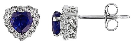 Other 10k White Gold 110 Ct Diamond And 1 Ct Blue Sapphire Stud Earrings Gh I2i3