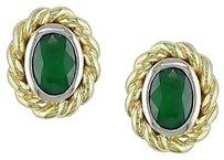 10k White And Yellow Gold Two-tone Emerald Stud Earrings 0.9 Ct Tgw