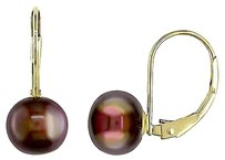 Other 14k Yellow Gold Freshwater Brown Pearl Heart Earrings 8 Mm