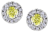 Other 10k White Gold Accent Diamond Yellow Stud Earrings 0.3 Cttw G-h I2-i3
