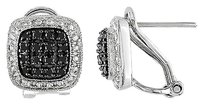 Sterling Silver Black Diamond Stud Earrings 13 Ct Tdw