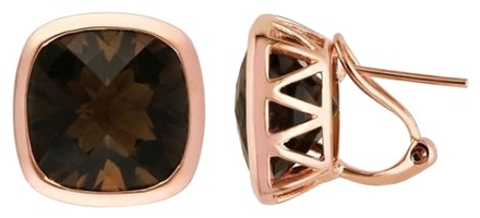 Other Rose Gold Flashed Silver Smokey Quartz Two Tone Stud Earrings 22 Ct Tgw