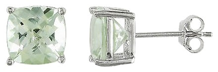 Other Sterling Silver 4-12 Ct Tgw 8mm Cushion Green Amethyst Solitaire Earrings