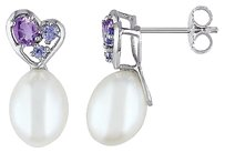 Other Sterling Silver 25 Ct Tanzanite Amethyst 8-8.5 Mm Pearl Heart Love Earrings