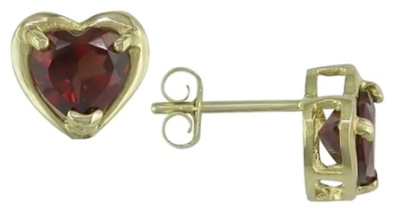 Other 10k Yellow Gold Garnet Heart Love Stud Earrings 1.7 Ct Tgw