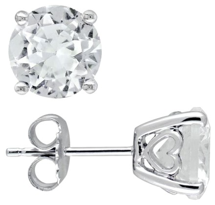 Other Sterling Silver White Sapphire Stud Earrings 4.8 Ct Cttw