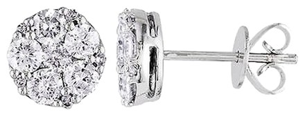 Other 10k White Gold 1 Ct Accent Diamond Geometric Cluster Stud Earrings G-h I1-i2