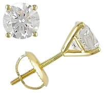 Other 14k Yellow Gold Diamond Solitaire Stud Earrings 1.5 Cttw G-h Si2-i1
