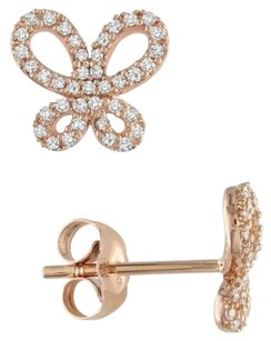 10k Rose Gold Accent Diamond Ear Pin Butterfly Stud Earrings 0.25 Cttw G-h I1-i2