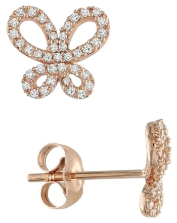 Other 10k Rose Gold Accent Diamond Ear Pin Butterfly Stud Earrings 0.25 Cttw G-h I1-i2