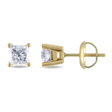 Other 14k Yellow Gold Diamond Solitaire Square Geometric Stud Earrings 1 Ct H-j I1-i2