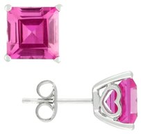 Sterling Silver Created Pink Sapphire Stud Earrings 6.5 Ct Tgw