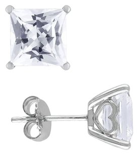 Sterling Silver Created White Sapphire Stud Earrings 6.12 Ct Tgw Butterfly Amour