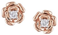 Other Amour 10k Rose Gold Diamond Flower Rose Stud Earrings 0.2 Cttw G-h I2-i3