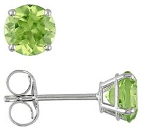 14k White Gold 1 18 Ct Tgw Peridot Ear Pin Earrings