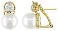 Other 14k Yellow Gold 9-9.5mm Akoya Pearl And Diamond Stud Earrings Cttw H-i I1-i2