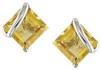 10k White Gold Citrine Stud Earrings 2.1 Ct Tgw