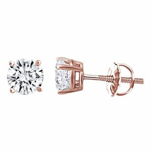 Studs Unisex Solid 14k Gold Earrings 1.00 Ct Cubic Zirconia Round Cut Solitaire