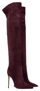 Suede Over The Knee Burgundy Boots