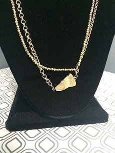 Other Susan Lieber Designs 32 Strand Gold Pyrite And Gold Chain Pendant Gold Druzy