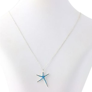 Synthetic Oal Star Pendant Necklace - Sterling Silver 925 Blue Opal Inlay 18
