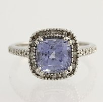 Synthetic Sapphire Diamond Cocktail Ring - 10k White Gold Fine 4.27ctw