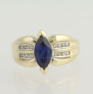 Synthetic Sapphire Diamond Ring - 10k Yellow White Gold September 1.31ctw